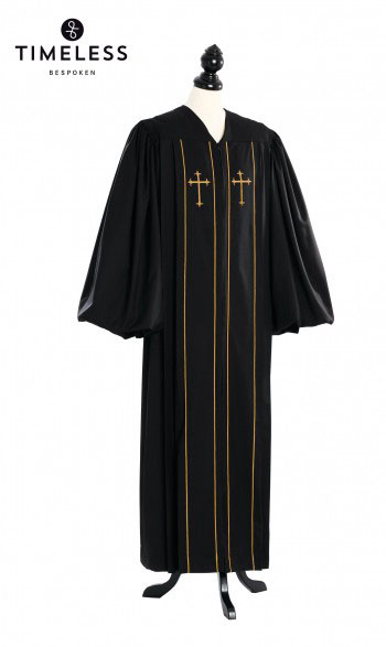 Custom Cleric Clergy Talar Gold, TIMELESS silver wool
