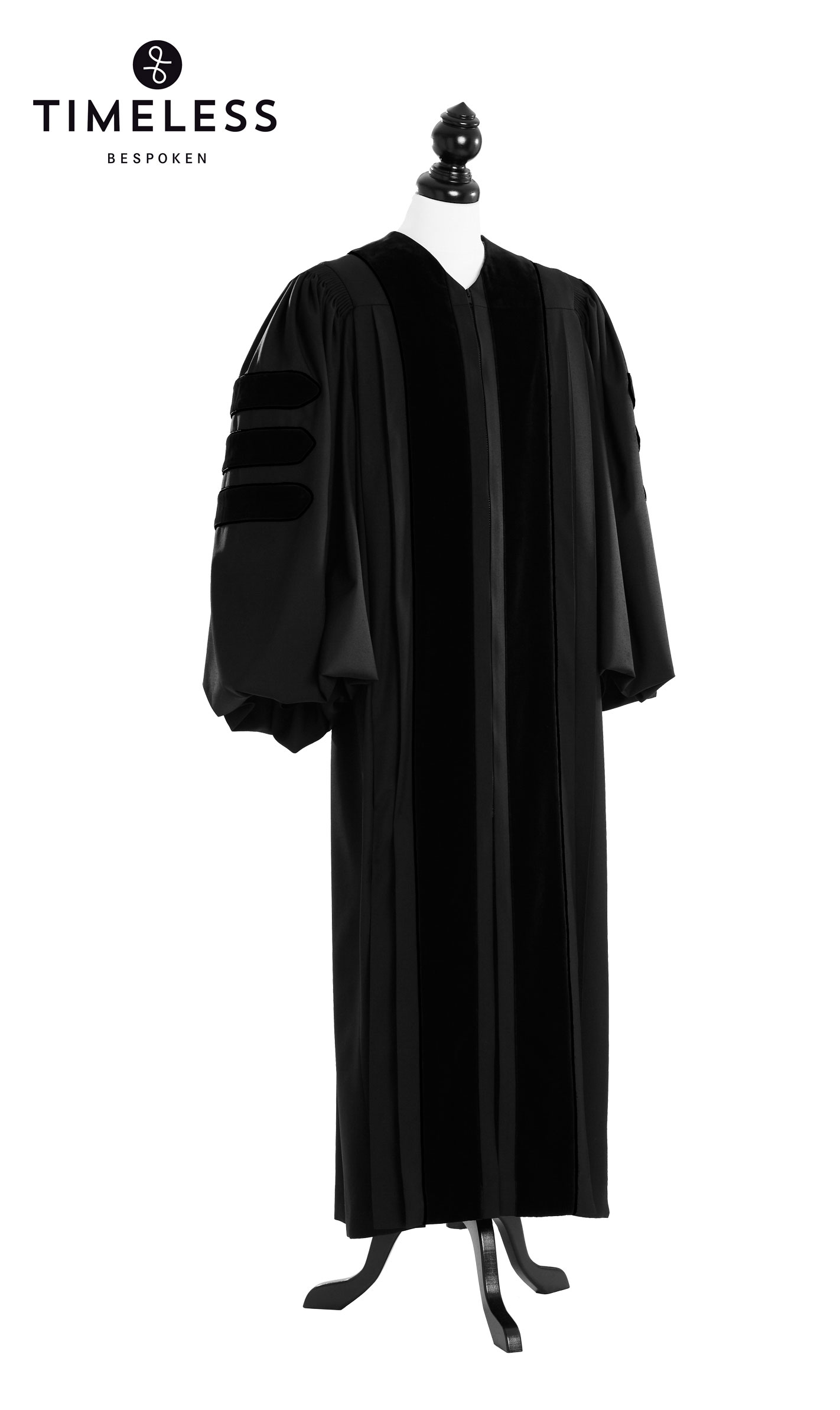 Deluxe Black Clergy Talar, TIMELESS silver wool