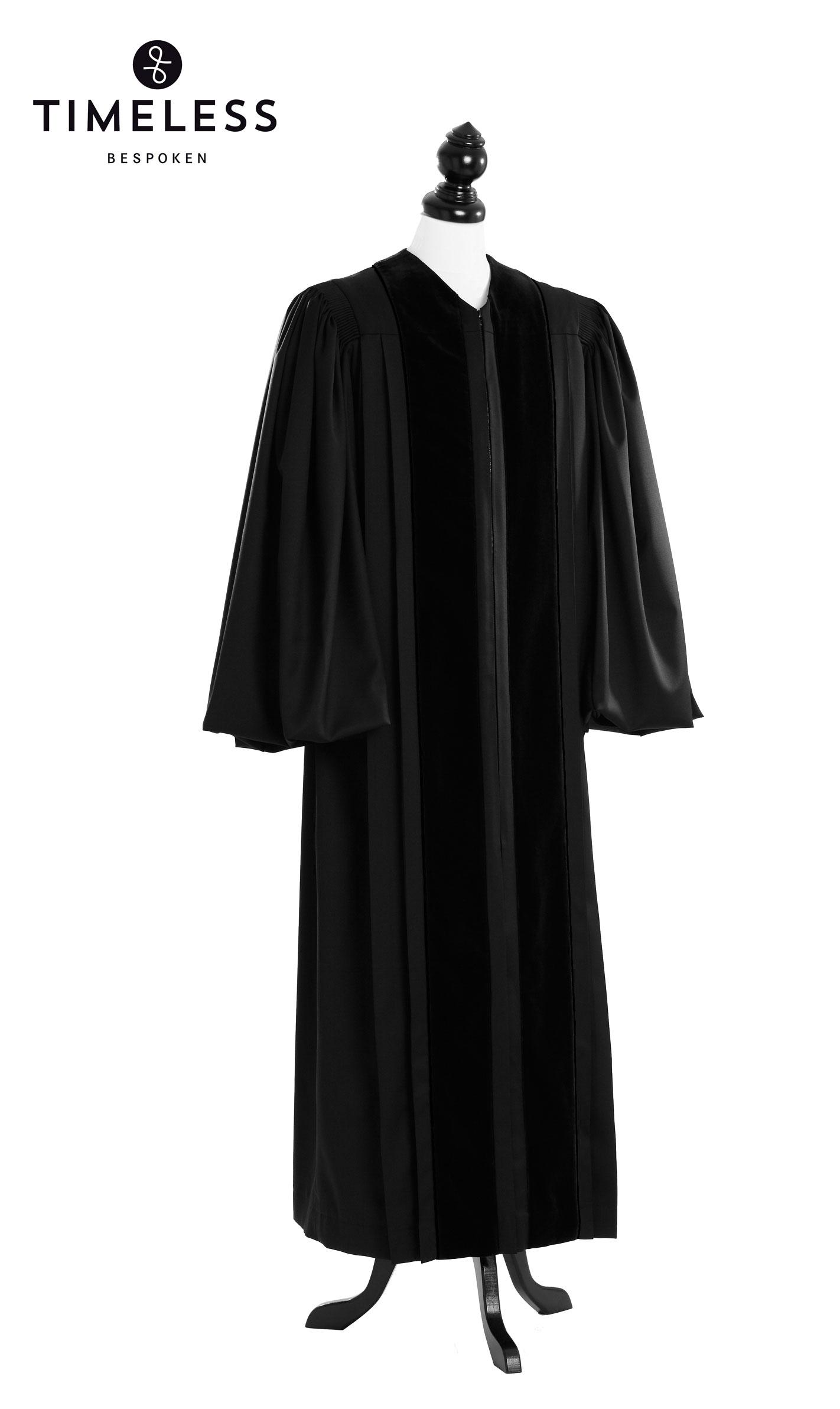 Front Velvet Geneva Clergy Talar, TIMELESS silver wool